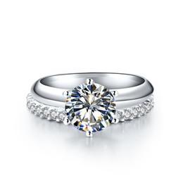 $enCountryForm.capitalKeyWord UK - Silver & Moissanite Set Jewel 1.5Ct 7.5mm G-H Moissanite Set Rings 925 Sterling Silver Ring Women's Synthetic Diamonds Ring