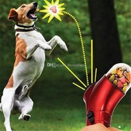 Feeding Products Australia - 100pcs Pet Treat Launcher Pets Food Spray Gun Pet Feeding Catapult Gun Dogs Cats Outdoor Interactive Toy bb592-599 2018012216