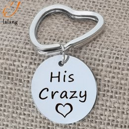 """Letters Chains Rings Australia - Heart Shape Couple Lovers Key Chains """" His crazy ,Her Weirdo"""" Letter Customized Name Keychain Key Ring Valentine's Day Gifts"""