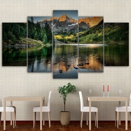$enCountryForm.capitalKeyWord Australia - Modular Pictures Home Wall Frame Modern Poster HD Printed 5 Pieces Canvas Art Colorado Ozero Mountain Decor Oil Painting PENGDA