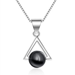 necklaces pendants Australia - Silver Color Fashion Black Stone Triangle Ladies' Pendant Necklaces Jewelry For Women Female Ladies Birthday Gift Wholesale E144