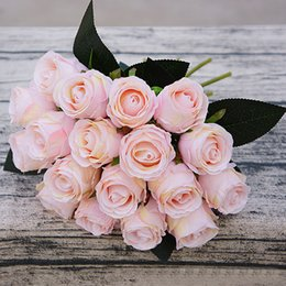 white pink flower bouquet NZ - 18pcs lots Artificial Bouquet White Pink Thai Royal Rose Silk Flowers Home Decoration Wedding Party Decor Q190522