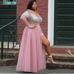 acbeb556cdfd Plus Size African Black Girl Long Prom Dress V-Neck Heavy Beaded See  Through Top Long Sleeve Pink High Slit Prom Dresses 2019 Abendkleid