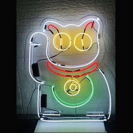 Neon Shop Open Signs UK - FortuneCatOpen Neon Sign Light Beer Bar Pub Shop Wall Decor Handmade Real Glass Tube 16*16 Inch