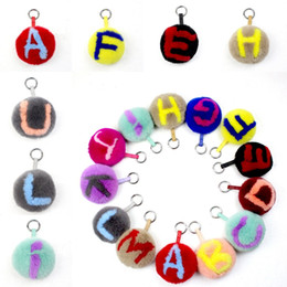 Cellphone Keys Australia - Free DHL Women's Bag Keychains Rabbit Fur Ball Pom Pom Keychain with Alphabet A-Z Key Holder for Cellphone Handbag Girls Best Gift G292Q F