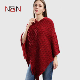 striped poncho women UK - Knitted Pullover Women Poncho Plus Size Batwing Solid Striped Sequins Scarf Winter Thick Tassel Sweater Sleeve Poncho And Capes Y191022