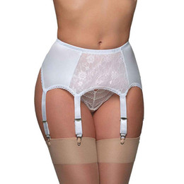 China Sexy Vintage High Waist Lace Garter Belt Female Sexy Underwear Garters Mesh Stocking Suspender suspenders Femme Lady 6 belts cheap black garter belt stockings suppliers