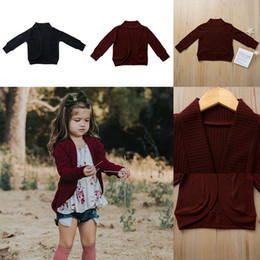 long black cardigan girls NZ - Baby Boy Girl Knitwear Sweater Ins Autumn Long Sleeve Kid Cotton Cardigan Wine Red Black Coat