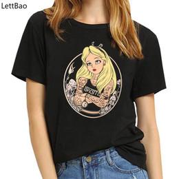 $enCountryForm.capitalKeyWord Australia - Alice in Wonderland T Shirt women Cotton tops black Alice Snow White princess Print Casual Short Sleeve 90s vogue T-shirt femme