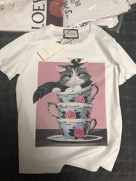 Cat T Shirts For Women Australia - 19ss New Fashion t shirts Short sleeve Tops 3A Quality T-shirt For Women Tee Men Clothes Cotton Casual Teacup cat printing clothing q1