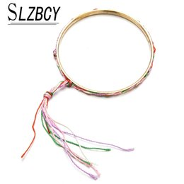 Wholesale New Fashion Gold Color Alloy Bangles Bracelets For Women Colorful Cotton Rope Tassel Round Bangle Simple Female Birthday Jewelry