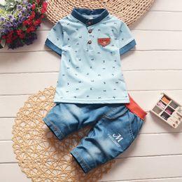 $enCountryForm.capitalKeyWord Australia - 2019 New Baby Boys Summer Clothes Newborn Children Clothing Sets For 0-4 Years Sleeve Shirts Jeans Cool Denim Shorts Sport Suits