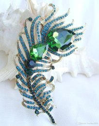 Discount rhinestone feather brooches - Peacock Feather Brooch Pin w Turquoise & Green Rhinestone Crystals EE05038C4