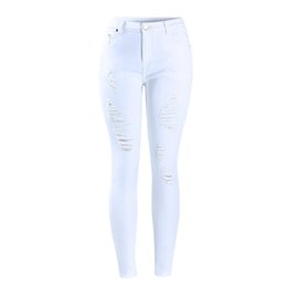 white cotton stretch pants Canada - Fashion New Women`s Distressed Curvy White Mid High Waist Stretch Denim Pants Ripped Skinny Jeans for Woman Jean Quality