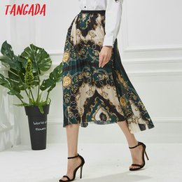 Ladies Neck Chains Australia - Tangada Women Flower Chains Print Skirts Pleated Vintage New Arrival Lady Skirt Female Casual Chic Midi Skirts Faldas Mujer Qj11 Y19060501