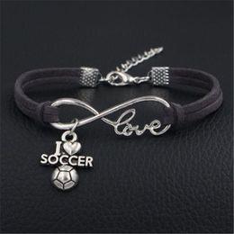 $enCountryForm.capitalKeyWord NZ - New Fashion Handmade Braided Dark Gray Leather Suede Wrap Bracelets for Men Women Infinity Love I Heart Soccer Ball Sport Team Jewelry Gifts
