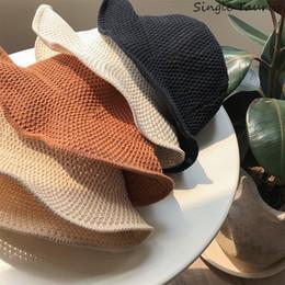 $enCountryForm.capitalKeyWord Canada - Japanese Style Hand Woven Straw Hat Women Black Hat Korea Fashion Tall Satin Weave Bucket Women Summer Knit Bucket 2019