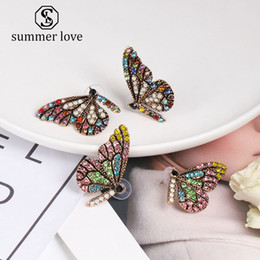 $enCountryForm.capitalKeyWord Australia - Hot Sale Butterfly Wing Stud Earring for Women Elegant Colorful Crystal Ear Nail Simple Temperament Gold Plating Earring Jewelry Gift