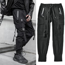 harem sweatpants for hip hop NZ - Streetwear Black Harem Jogger Pants Men Hip Hop Pockets Ribbons Sweatpants Mens Trousers Casual Slim Cargo Pants For Man V200417