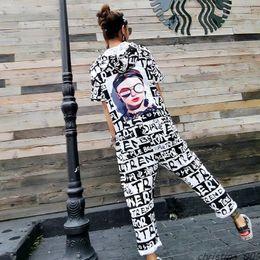 Wholesale hip hop women overall pants resale online – summer Women High Street Letter Printed Ankle Length Pants Hip Hop Design Short Sleeve Jumpsuit Hooded One Piece Overalls shein