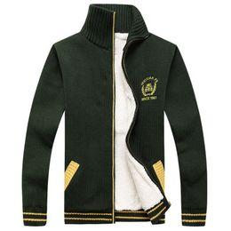 $enCountryForm.capitalKeyWord Australia - Men Striped Knit Sweaters Winter Warm Thick Velvet Sweatercoat Zipper Collar Casual Cardigan Men Sweaters Knitwear Big Size for Men Hotsale