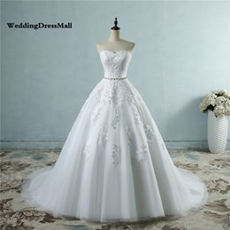 Vintage Dress For Muslim Australia - 2019 lace flower Sweetheart White Ivory Fashion Sexy Wedding Dresses for brides plus size Beading Crysteals Sash maxi