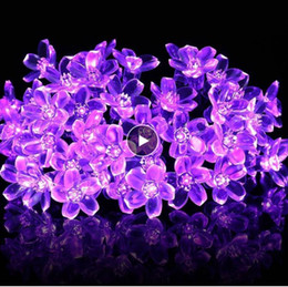 dry flowers for wedding UK - Cherry Blossom Flower Garland Battery Powered LED String Fairy Lights Crystal Flowers For Indoor Wedding Christmas Decors Purple