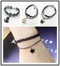 $enCountryForm.capitalKeyWord Australia - 12 Pics set Black Lace Wristband Stars Heart Cat Bracelet Hip Hop Punk Crystal Diamonds Bracelet Women Pendant Bracelet