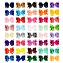 Silicone Hair Clips Australia - 40pcs lot 4 Inch Girl Bows With Kids Boutique Solid Ribbon Bows Hairpin Windmill Hair Clip Hair Accessories 612 J190507