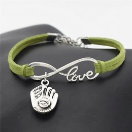 Leather Gloves For Men Australia - Fashion Green Leather Suede Charm Bracelets & Bangles for Women Men Braided Infinity Love 3D Baseball Glove Sports Female Male Jewelry Gifts