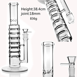 large 18mm bowl NZ - 15.2 Tall Bong heady Glass Dab Rigs Large Gravity Bong Water Pipes Smoking Waterpipe With 18mm Bowl Shisha Hookahs