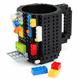 white building blocks UK - Creative mug coffee cup building block mug creative assembly decompression water cup DIY assembly Drinkware mugs