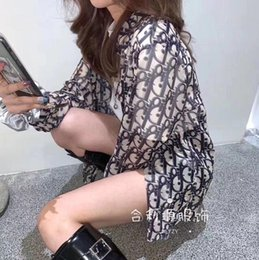 2020 new women's wear, fashion casual long-sleeve shirt, hip-hop street style, full-body lettered design, chiffon material, on Sale