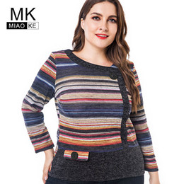Miaoke Long Sleeve T Shirts Women 2018 Fall Clothing ladies Fashion  Oversized Vintage striped Graphic Tees Plus Size Tops Y18121801 2f20f67983f5