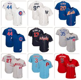Camisa de beisebol dos homens Bryce Harper Javier Baez Pete Alonso Cody Bellinger Mike Trout Ronald Acuna Jr. Camisas de Nelson Cruz Kris Bryant COOL venda por atacado