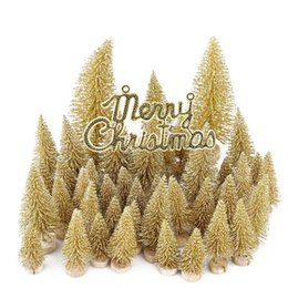 mini wood christmas trees Australia - 49pcs Christmas Mini Pine Trees Frosted Sisal Trees Winter Ornaments Tabletop Decoration with Wood Base for Home Decor