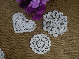 $enCountryForm.capitalKeyWord UK - Customize Wholesale 3 Design Crochet pattern Doily Coaster hand made cup mat Pad Applique Pink White Ecru 8-12CM 30pcs LOT