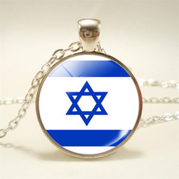 Pendant Designs For Gems Australia - New Design Silver Time Gem Glass Cabochon Israel National Flag World Cup Football Fan Jewelry Quality Pendants Necklace Choker For Women Men
