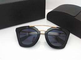 Coating Mirror Australia - New style sunglasses 09Q cinema sunglasses coating mirror lens polarized lens vintage retro style square frame gold middle women designer