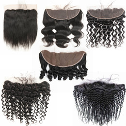 Discount peruvian curly hair closure - Pre plucked Ear To Ear lace Frontal Closure Kinky Curly Body Wave Bleached Knots With Baby Hair Brazilian Virgin Hair Hu