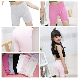 cheap wholesale leggings Australia - Summer Shorts Girls Safety Pants Baby Kids Dress Elastic Safety Panties Underwear Lace Short Tights Leggings Anti-alight Shorts Cheap E3303