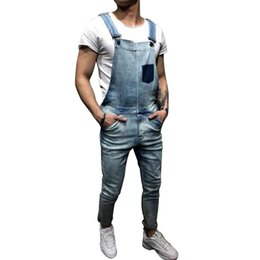 silver overalls Australia - Laamei Fashion Men's Ripped Jeans Jumpsuits 2019 Summer Street Distressed Denim Bib Overalls For Man Suspender Pants Size S-XXL