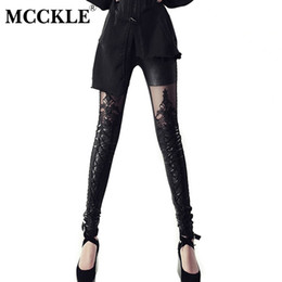 232f411a6b4cf Women's PU Leather Lace Black Leggings Pants Crochet Patchwork Lace Up  Bodycon Trousers Womens 2019 Spring Rock Gothic. AU ...