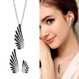 $enCountryForm.capitalKeyWord NZ - SINLEERY Vintage Fashion Women Jewelry Set Antique Silver Color Angel Wing Necklace Earring Set 2017 TZ450 SSA