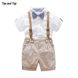 $enCountryForm.capitalKeyWord Australia - And Top Summer Toddler Baby Boys Clothing Sets Short Sleeve Bow Tie Shirt+suspenders Shorts Pants Formal Gentleman Suits Q190530