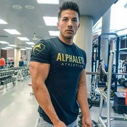 Gym Tees NZ - 2019 Summer Mens Gyms Casual Tight T Shirt Crossfit Fitness Bodybuilding Shirts Printed Fashion Male Cotton Clothing Tee Tops