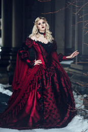 red black short wedding dresses NZ - Gothic Winter Medieval Wedding Dresses Red and Black Renaissance Fantasy victorian vampires Country Wedding Dresses With Caped Long Sleeves