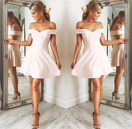 Shoulder jacketS online shopping - New Pale Pink Off Shoulder Homecoming Dresses Girls Short Party Dresses Sexy Mini Skirt a line Mini Prom Occasion Junior Gown