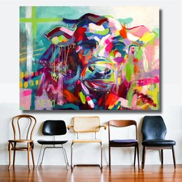 $enCountryForm.capitalKeyWord NZ - 1 Pcs Vintage Wall Decorations Colorful Cow Style Canvas Material Oil Painting Wall Art Pictures for Living Room Decoration