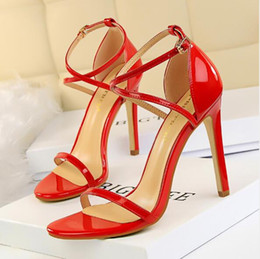 Heeled Sandals Shoes NZ - New Brand Designer Women Summer Ankle Strap Open Toe Sandals Red White 11cm Sexy Stiletto High Heels Lady Banquet Party Wedding Dress Shoes
